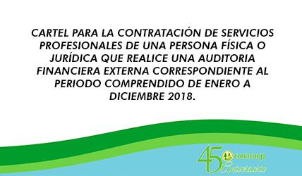 CARTEL PARA LA CONTRATACIÓN DE SERVICIOS PROFESIONALES DE UNA PERSONA FÍSICA O JURÍDICA QUE REALICE UNA AUDITORIA FINANCIERA EXTERNA CORRESPONDIENTE AL PERIODO COMPRENDIDO DE ENERO A DICIEMBRE 2018.