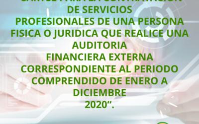 Cartel para la contratación de servicios profesionales de una persona física o jurídica que realice una auditoria financiera externa correspondiente al periodo comprendido de enero a diciembre 2020
