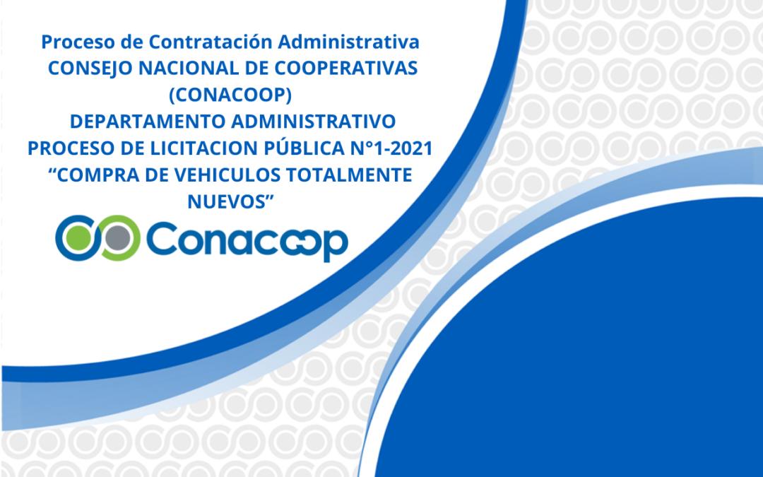 """PROCESO DE LICITACION PÚBLICA N°1-2021 """"COMPRA DE VEHICULOS TOTALMENTE NUEVOS"""""""